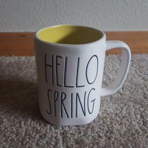 Rae Dunn HELLO SPRING mug with yellow interior new